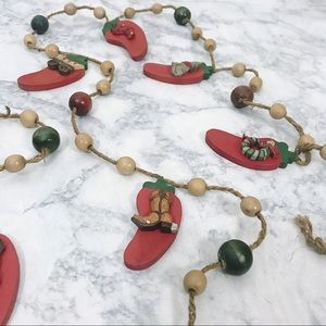 Wooden Chili Pepper Christmas Garland